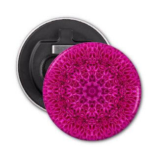 Pink Flower Pattern  Magnetic Round Bottle Opener