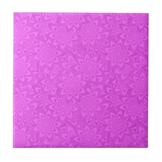Pink flower pattern small square tile