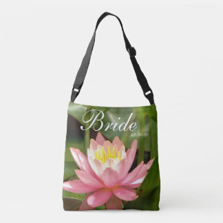 Pink flower personalized w/ Name Bride & date Crossbody Bag