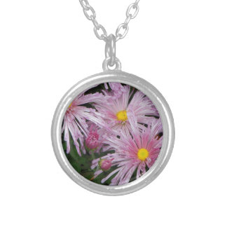 Pink Flower Photo Gift Round Pendant Necklace