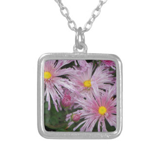 Pink Flower Photo Gift Square Pendant Necklace