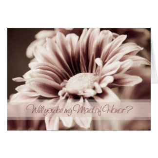Pink Flower Photo Maid of Honor Invitation Card