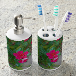 Pink flower photo soap dispenser set