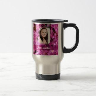 Pink flower photo template mug