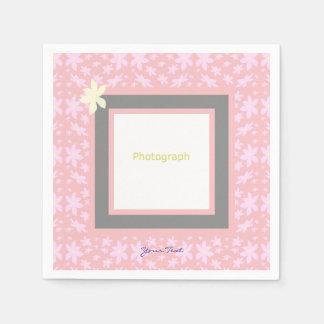 Pink Flower Photograph Template Paper Napkin