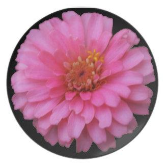 Pink Flower Plate - Black