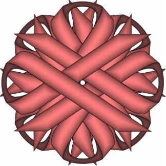 Pink Flower Ribbon Photo Sculpture Key Ring