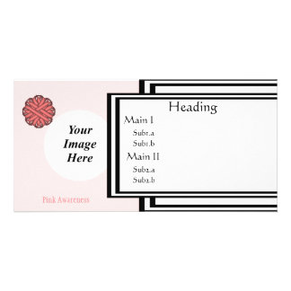 Pink Flower Ribbon Template Customised Photo Card
