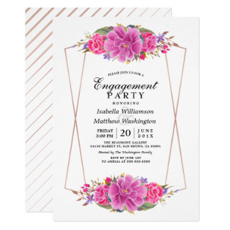 Pink Flower & Rose Gold Geometric Engagement Party Card