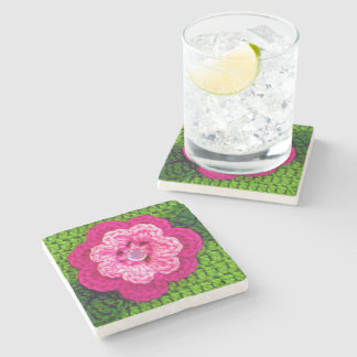 Pink Flower Rural Country Green Crochet Print on Stone Coaster