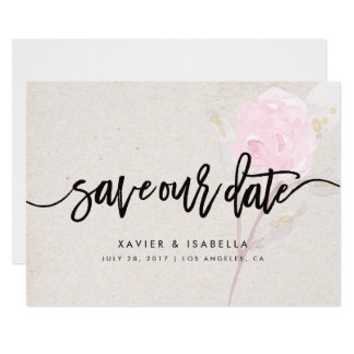Pink Flower | Save The Date Announcement