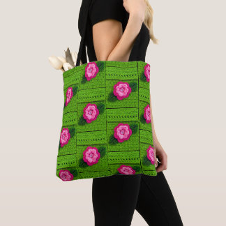 Pink Flower Spring Green Crochet Print  All Over Tote Bag