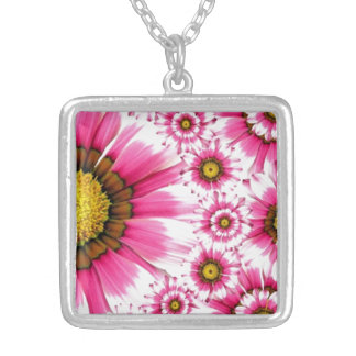 Pink Flower Square Pendant Necklace
