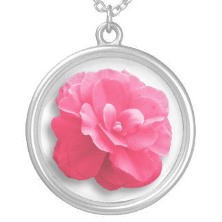 Pink Flower Sterling Silver Necklace
