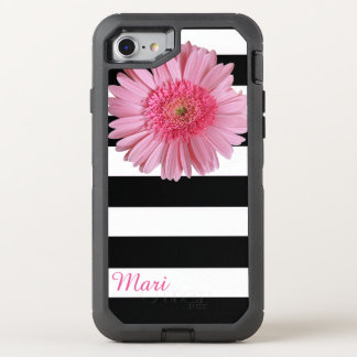 Pink Flower Striped OtterBox Defender iPhone 8/7 Case