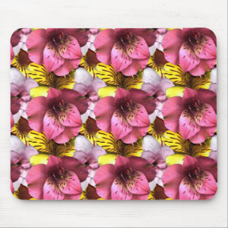 Pink Flower Themed Mouse Pad