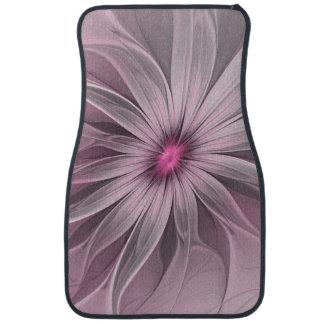 Pink Flower Waiting For A Bee Abstract Fractal Art Floor Mat