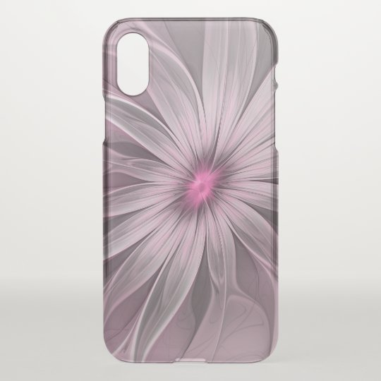 Pink Flower Waiting For A Bee Abstract Fractal Art iPhone X Case