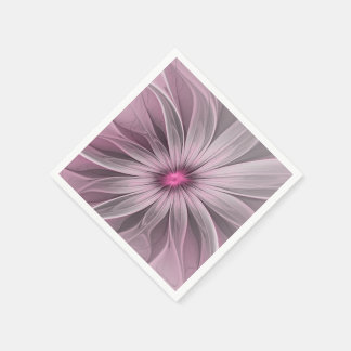 Pink Flower Waiting For A Bee Abstract Fractal Art Paper Napkins
