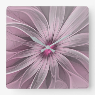 Pink Flower Waiting For A Bee Abstract Fractal Art Square Wall Clock
