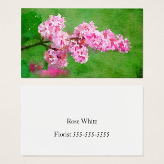 Pink Flower Watercolor Abstract Business Card