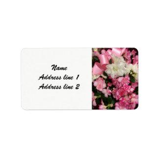 Pink flower wedding address labels