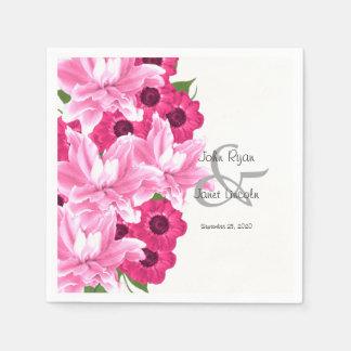 Pink Flower Wedding Design Disposable Serviette