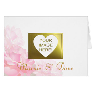 Pink Flower Wedding Invitation | White Collection Greeting Card