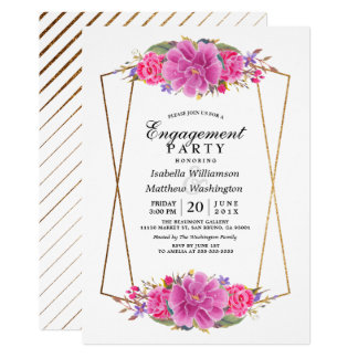 Pink Flower White Gold Geometric Engagement Party Card