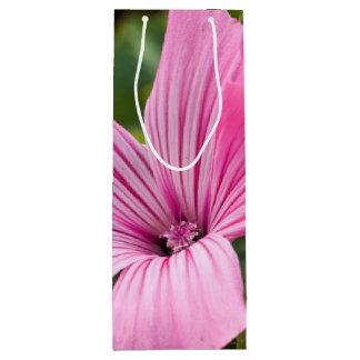 pink flower wine gift bag