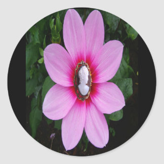Pink flower with cameo center, sticker