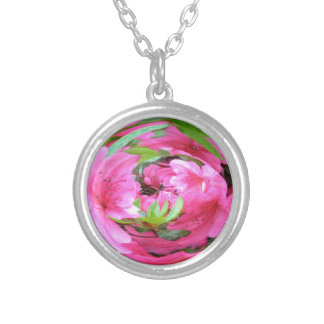 Pink Flower with Green Leaf Round Pendant Necklace