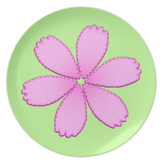 Pink Flower with Stitches Dinner Plates