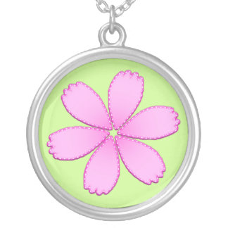 Pink Flower with Stitches Silver Plated Necklace