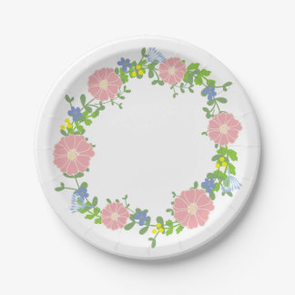 Pink Flower Wreath 7 Inch Paper Plate