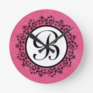 Pink Flower Wreath Monogram Home Decor Gift v31 Wallclock