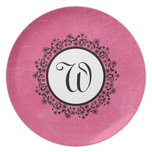 Pink Flower Wreath Monogram Home Decor Plate V55 Zazzle