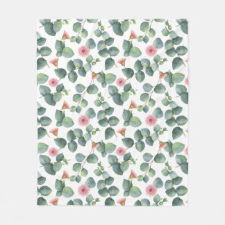 Pink Flowering Eucalyptus Foliage Fleece Blanket