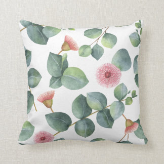 Pink Flowering Eucalyptus Leaves Pattern Cushion