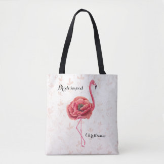 Pink Flowering Flamingo Bridesmaid Wedding Tote Bag