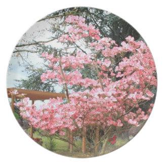 Pink Flowering Tree Plate
