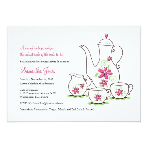 Pink Flowers, 5x7 Tea Party Invitations 13 Cm X 18 Cm Invitation Card