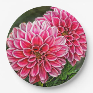 PINK FLOWERS 9 INCH PAPER PLATE