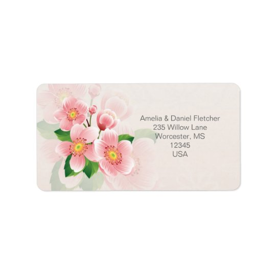 Pink flowers Address Avery Label Address Label