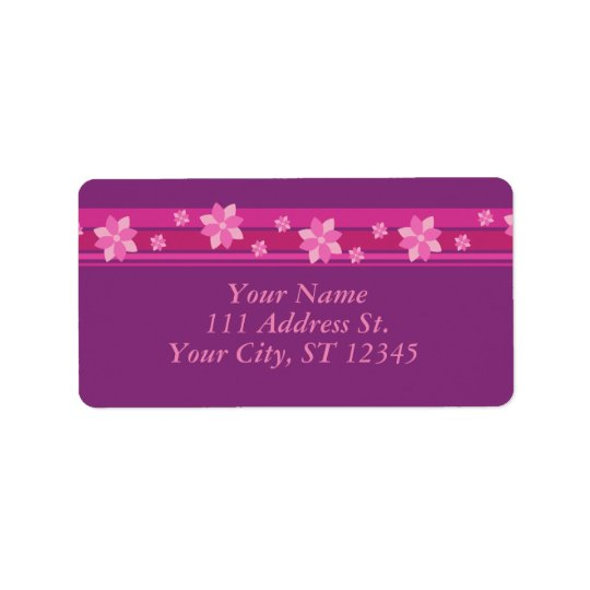 Pink Flowers Address Label