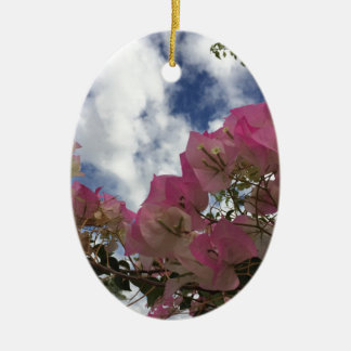 pink flowers against a blue sky ceramic ornament