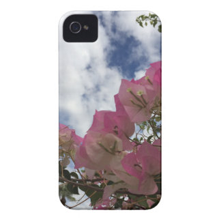 pink flowers against a blue sky iPhone 4 case