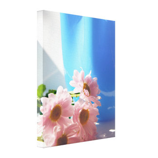 Pink flowers and  a turquoise vase canvas print