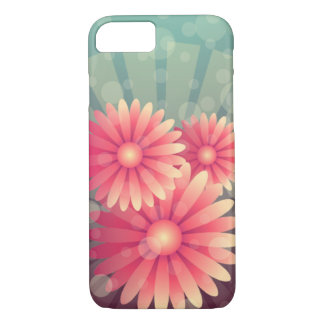 Pink Flowers and Blue Circles iPhone 8/7 Case