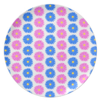 Pink Flowers and Blue Flowers. Pattern. Plates